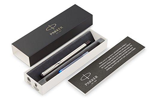 Parker Vector Füller | Edelstahl | Füllfederhalter Feine Spitze | Blaue Tinte | Geschenkbox