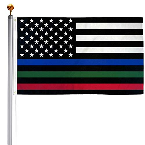 Thin Blue Red Green Line American Flag 3x5 Outdoor- Police Firefighter Military American Flags- USA Flag Support Fire Military Law Enforcement Officers