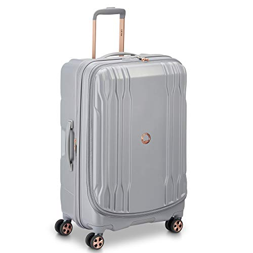 DELSEY Paris 40208082011 DLX Expandable Luggage with Spinner Wheels, Harbor Gray, Checked-Medium 25 Inch