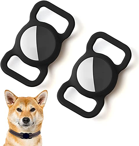 Kuaguozhe Silikon Schutz Hülle Kompatibel mit Apple Airtag GPS Finder Hundehalsband, Pet Loop Holder für Apple Air_Tags, Slide On Sleeve Kompatibel mit Apple Airtags (Schwarz+Schwarz)