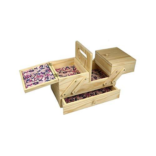 Caja de coser en voladizo de madera pequeña pino ligero con revestimientos de papel - coser en línea