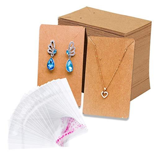 Juego de 200 tarjetas para pendientes con 200 piezas Bolsas Pendientes Collar Tarjetas de exhibición Pendiente Tarjetero Tarjetas de exhibición de aretes para bricolaje Pendientes de oreja Joyas