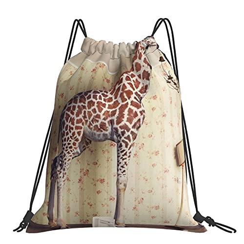Drawstring Backpack Giraffe Breaks Ceiling String Storage Bags Sports Yoga Gym Travel Swimming Sackpack For Men Women Girls