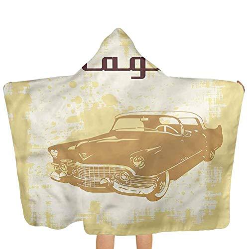 ZHSL Serviettes de bain à capuchon voitures, voiture rétro sur gant de toilette à capuchon en détresse couleur parfaite pour les filles et les garçons 51,5 x 31,8 pouces