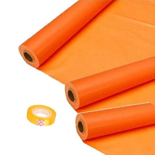 Veraitech Synthetic School and Notebook Cover Stretchable Binding Cover Roll, 8m (Orange) - Set of 3 Book Cover roll
