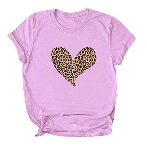 YANFANG Camisetas de Manga Corta con Cuello Redondo y Estampado de Leopardo de corazón para Mujer Casual Pareja Novios