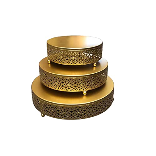 woyada Soporte redondo de hierro para tartas de postre de hierro forjado dorado para tartas reutilizables para magdalenas, postres, bandeja de exhibición para fiestas, baby shower, boda, cumpleaños