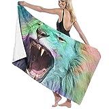 YHJUI Serviette de Bain Serviette de Plage, Humour Lions Impression Sunny Lion, Serviette à la Main pour Nager Sport Yoga Voyage Camping Gym Serviettes de Piscine, 130x80cm