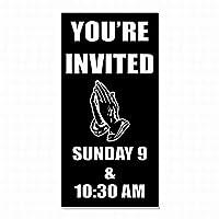 警告スズ記号を招待している!教会カスタム日付時間ガレージ金属標識安全性安全標識通り装飾