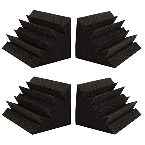 """12"""" x 7"""" x 7"""" Bass Traps Acoustic Foam, AGPTEK 4 Pack Acoustic Panels Bass Traps Corner Studio Foam, Ideal for Home Theater, Recording Room and Studio"""