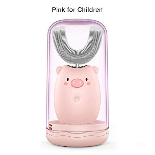 U-förmige elektrische Kinderzahnbürsten, Bürstenkopf aus lebensmittelgeeignetem Silikon, automatische Ultraschall-Blu-ray-Zahnaufhellungs-wiederaufladbare wasserdichte Zahnbürste für 2-12 Jahre