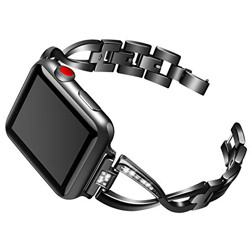 CHENPENG Bling Rhinestone Metal Strap, Compatible with Apple Watch 1/2/3/4, Stainless Steel Adjustable Replacement Bands, Women,Black,42mm