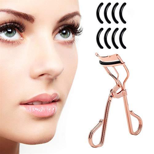Clip pour recourber les cils pour toutes les formes et tailles d'yeux, convient à toutes les formes d'yeux - Accessoire de maquillage essentiel pour femme avec un sac en satin et 8 tampons de recharge