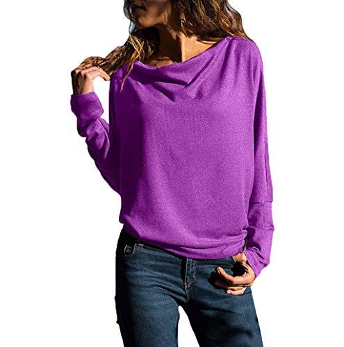T-Shirt Femme Pullover Mode Tops Col Rond Manches Longues Uni Sweat-Shirt élégant Chic Blouse Ample Simple Et Confortable LONUPAZZ