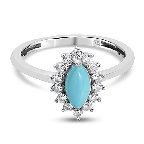 TJC Sleeping Beauty Turquoise Halo Ring for Womens in Platinum Plated 925 Sterling Silver Anniversary/Wedding/Proposal Gemstone Jewellery Size K with Zircon Blue Coloured December Birthstone, TCW 1ct