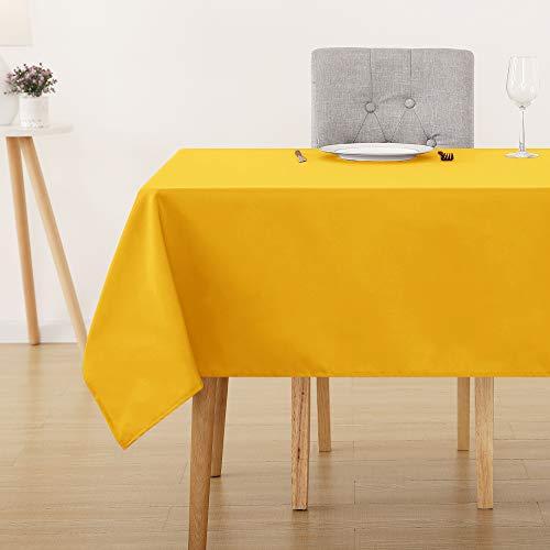 Deconovo Tischdecke Wasserabweisend Tischtuch Tischwäsche Lotuseffekt Tischtücher 140x240 cm Gelb