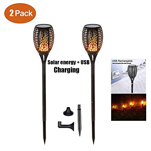 Chaozan Flamme vacillante Torche LED Extérieur étanche & Solaire Avec chargement USB - Décoration de Jardin - Effet Flamme LED Lanterne -2 pièce