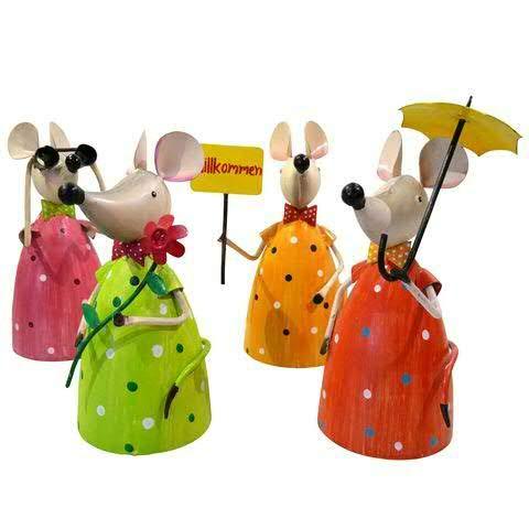 Hochwertige Zaunhocker im Sparset – Pfostenhocker/Zaunfigur Metall – Gartendekoration Zaungucker – Deko Tierfiguren/Gartenfiguren (Mäuse - 4er Set)