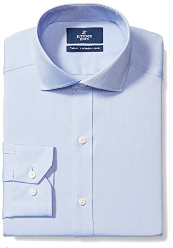 Amazon Brand - Buttoned Down Men's Tailored Fit Cutaway-Collar Solid Non-Iron Dress Shirt (No Pocket), Blue, 16.5' Neck 37' Sleeve