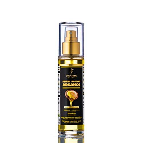 Dr. Schedu Berlin 100% reines natives marokkanisches Arganöl, ungeröstet, erste Kaltpressung & ohne jede chemische Behandlung, für Haare, Gesicht, Haut und Nägel,100ml