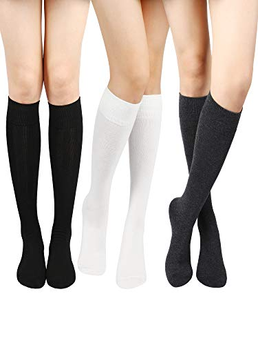 SATINIOR Calcetines Altos de Rodilla de Algodón Calctines Altos de Punto Sólido Casuales Calcetines de Botas para Mujers(Negro, Gris Oscuro, Blanco, 3 Pares)