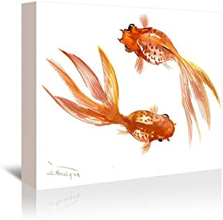 """Americanflat Feng Shui Goldfish Koi 3 Gallery Wrapped Canvas Print by Suren Nersisyan, 32"""" H x 48"""" W x 1.5"""" D"""