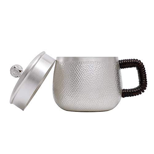 SHENLIJUAN Hecho a Mano Copa de Plata Grande del pote del té de Plata Taza de té de la Taza de café de Iones de Plata Copa (Color : Plata, Size : Cup About 170grams)