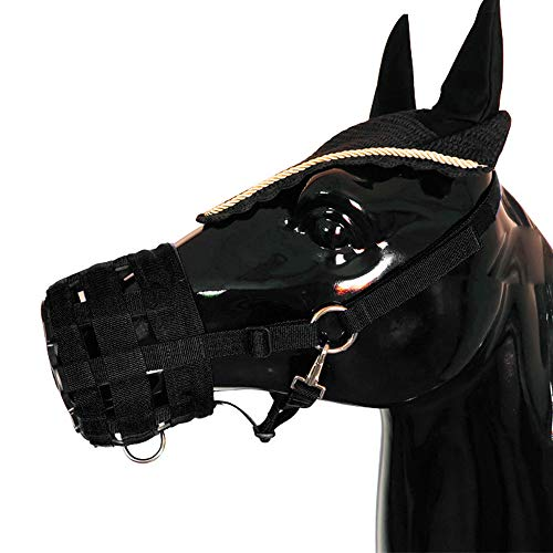 Explopur Tapa de Boca de Caballo con Cabestro Ajustable Debajo del Cuello de la Cabeza de la Barbilla - Easy Breathe Pony Nylon Grazing Bozal 3 Tamaño Opcional