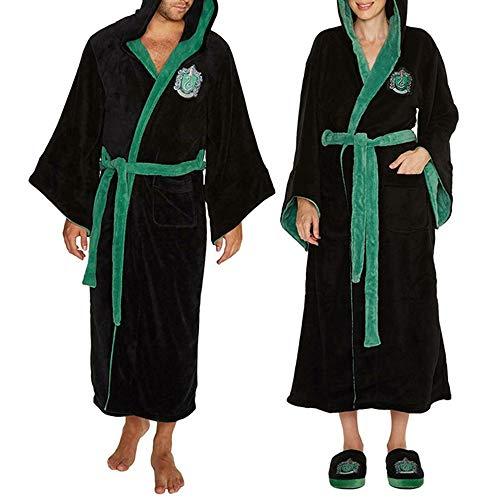 Deciduous Slytherin Fuzzy Robe Harry Hoodied Bademantel Seine und ihre Roben Wolle Pyjamas Wizard Fleece Nachthemd Kleid für Erwachsene Unisex Frauen Männer,Women,XL