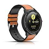 Montre Intelligente, Tracker de Fitness avec fréquence Cardiaque, podomètre Bluetooth Smartwatch à écran Couleur, Suivi du Sommeil, Notification d'appel SMS pour iOS et Android (Marron)