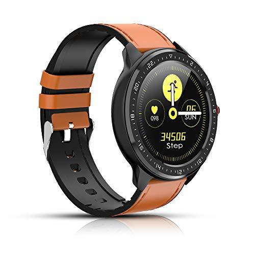 Smartwatch, Fitness-Tracker mit Herzfrequenz, Farbbildschirm, Bluetooth-Smartwatch, Schrittzähler, Schlaf-Tracking, SMS-Anrufbenachrichtigung für iOS und Android (braun)