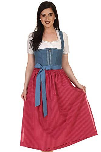 WENGER Damen Dirndl lang Leinendirndl Flora 31393-1230 blau Gr.34