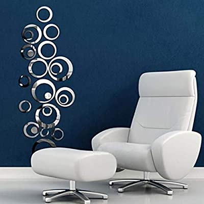 HOODDEAL Acrylic Mirror Style Removable Decal Vinyl Art Wall Sticker Home Decor (24 PCS, Silver)