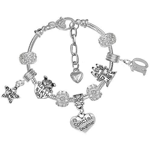 Daughter Girls 10th Birthday Crystal Charm Bracelet with Gift Box