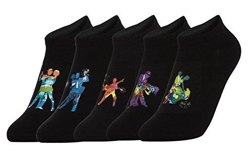 La Vogue Lot de 5 Paires de Socquettes Femme Homme Imprimé Cartoon Chaussette Bateau Noir