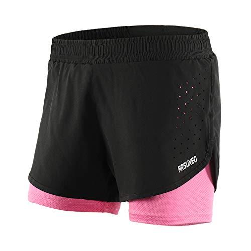X-Labor Damen 2 in 1 Sport Shorts Kurz Laufhose Mesh Innen Fitness Gym Yoga Laufshorts Trainingsshorts Sporthose schwarz rosa M