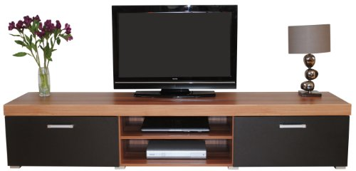 Sydney 2 Metre Black & Walnut 2 Door TV Cabinet Extra Large Unit