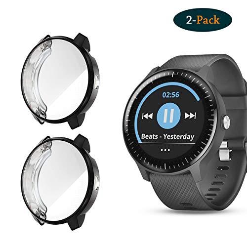 Cerike hoes voor Garmin Vivoactive 3 Music Protector (2 stuks) beschermhoes TPU HD Ultra Thin Accessoires Case voor Garmin Vivoactive 3 Music GPS Smartwatch, zwart+zwart.