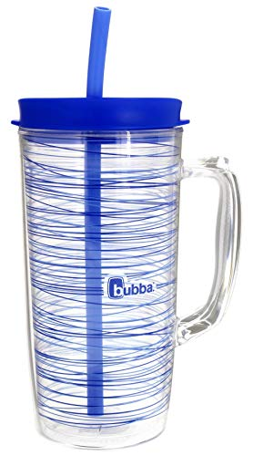 Bubba Envy Travel Thermal Mug, 48 Ounces - Double Wall Insulated with Straw - Keep All Your Favorite Cold Drinks at Your Side - Sweat Resistant, Ideal For Travel - Serenity with Stripes Graphic