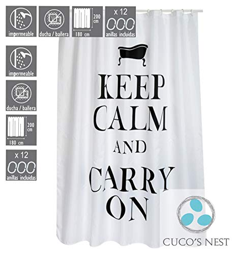 CUCO'S NEST douchegordijn Mod .Keep Calm 180 x 200 cm douchegordijn textiel. 100% polyester, waterdicht, anti-schimmel, antibacterieel.