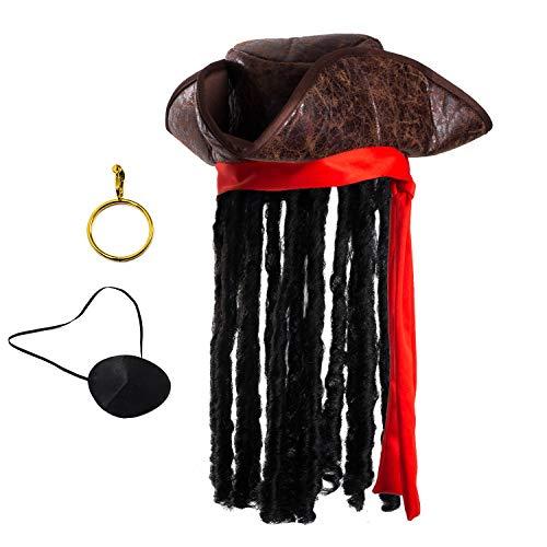 Pirate Hat with Dreadlocks – Tricorn Pirate Hat – Caribbean Pirate Hat – Pirate Costume Accessories (3 Pc Set) Tigerdoe