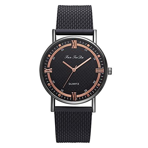 Reloj Femenino - Reloj de cuarzo de aleación de malla correa de silicona para mujer (oro rosa negro) para hombres