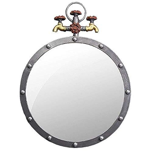 WUYUESUN La pared del metal de la antigüedad del hierro redondo Espejo de baño retro agua del grifo Diseño Industrial Espejos colgantes Compatible with entradas, baños, salas de estar, W50 × × H65cm D