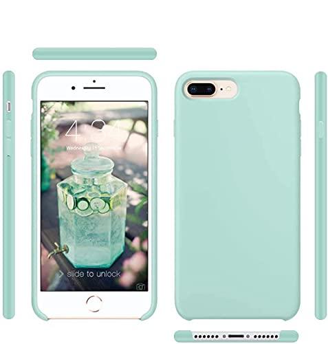 Funda de Silicona Silicone Case para iPhone 7 Plus, iPhone 8 Plus, Tacto Sedoso Suave, Carcasa Anti Golpes, Bumper, Forro de Microfibra (Verde Mar)