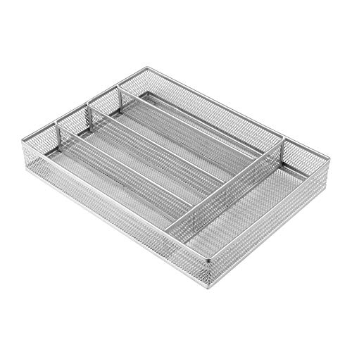 GBmall 5 Compartments Steel Mesh Kitchen Cutlery Trays Silverware Storage with No-Slip Foam Feet - Kitchen Organization/Silverware Storage