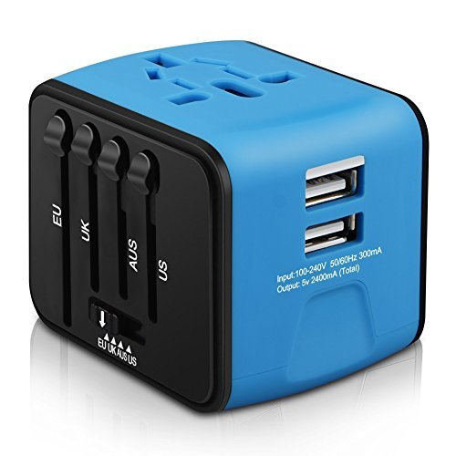 HAOZI Universal Travel Adapter, All-in-one International Power Adapter with 2.4A...