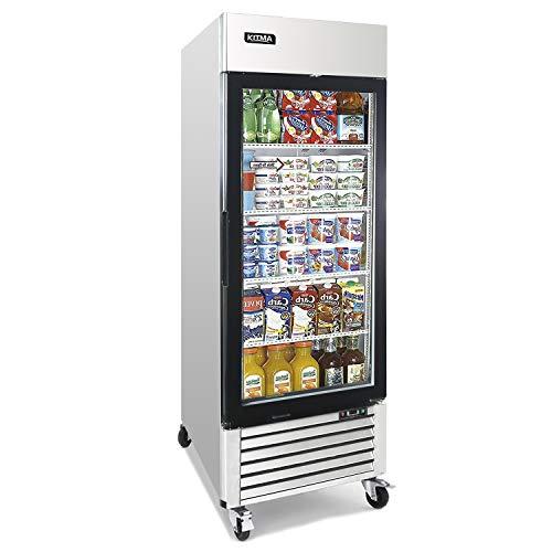 Commercial Single Glass Door Merchandiser Refrigerator - KITMA 19.1 Cu.Ft Merchandiser Display Case with LED Lighting for Restaurants, Fridge for Commercial 33°F - 38°F