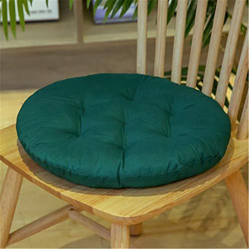 SWECOMZE 2er Set Sitzkissen, Sitzkissen für Gartenstuhl, Kissen Sitzauflage Stuhlauflage für Indoor und Outdoor 40x40 cm (Dunkelgrün,Runden)