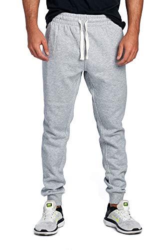 ProGo Men's Joggers Sweatpants Basic Fleece Marled Jogger Pant Elastic Waist (Medium, Heather Grey)