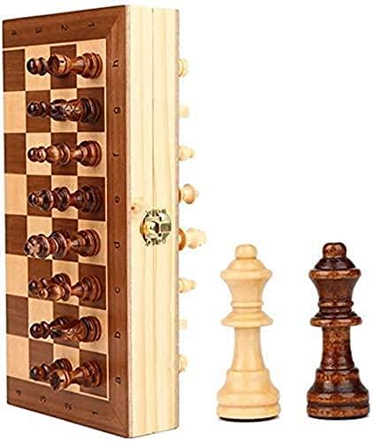 Ajedrez de ajedrez para niños de Madera para Principiantes y recién llegados.Juego de Viaje portátil